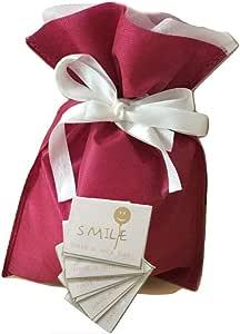 (pipinowa)ラッピング 袋 5枚 セット 簡単 包装 プレゼント 用 (ワインレッド, S)