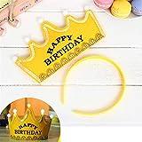 HuaQingPiJu-JP プリンスクラウンケーキLEDグローフープドレス帽子誕生日パーティー用品(黄色、誕生日おめでとう)
