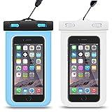 『2枚入』iPhone7 plus 防水ケース HEYSTOPスマホ防水ケース 携帯カバー ポーチ 袋 透明パック iPhoneとAndroid 6インチ以下全機種対応 ネックストラップ付属 IPX8認定 お風呂 海 ダイビング 温泉 水泳 お釣りなど適 iPhone7/6/6s/5/5s/Xperiaなどに対応 最大6インチiphone7 plus/6 plus等 (ブルー+ホワイト)