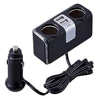 セイワ イルミライン USBソケット 2連ソケット+ 2USB 最大5V/2.4A コードタイプ ブラック F253
