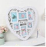 おしゃれな 壁掛け 白い ハート型 立体 フォトフレーム 写真立て インテリア 雑貨 家族 夫婦 新婚 カップル (大)
