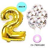 【Big Hashi 】誕生日パーティー 飾り付け アルミニウム 数字(2)バルーン ゴールド 紙吹雪入れ風船x5個 リボン×1個(jcw-02)