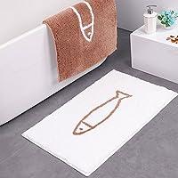 [XINXIKEJI]玄関マット さかな かわいい 屋内 室内 キッチンマット カーペット ラグマット おしゃれ ふわふわ 超吸水 滑り止め 泥とし 毛が抜けにくい 洗える キッチン リビング ベッドルーム 長方形 白 50*80cm