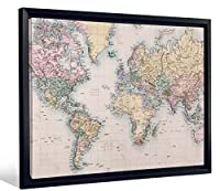 """JPロンドンfcnv2258FramedギャラリーラップHeavyweightキャンバスアート壁の装飾(地理Atlas Map of the World at 20.375"""" High x 26.375"""" Wide X 1.25"""" Thick)"""