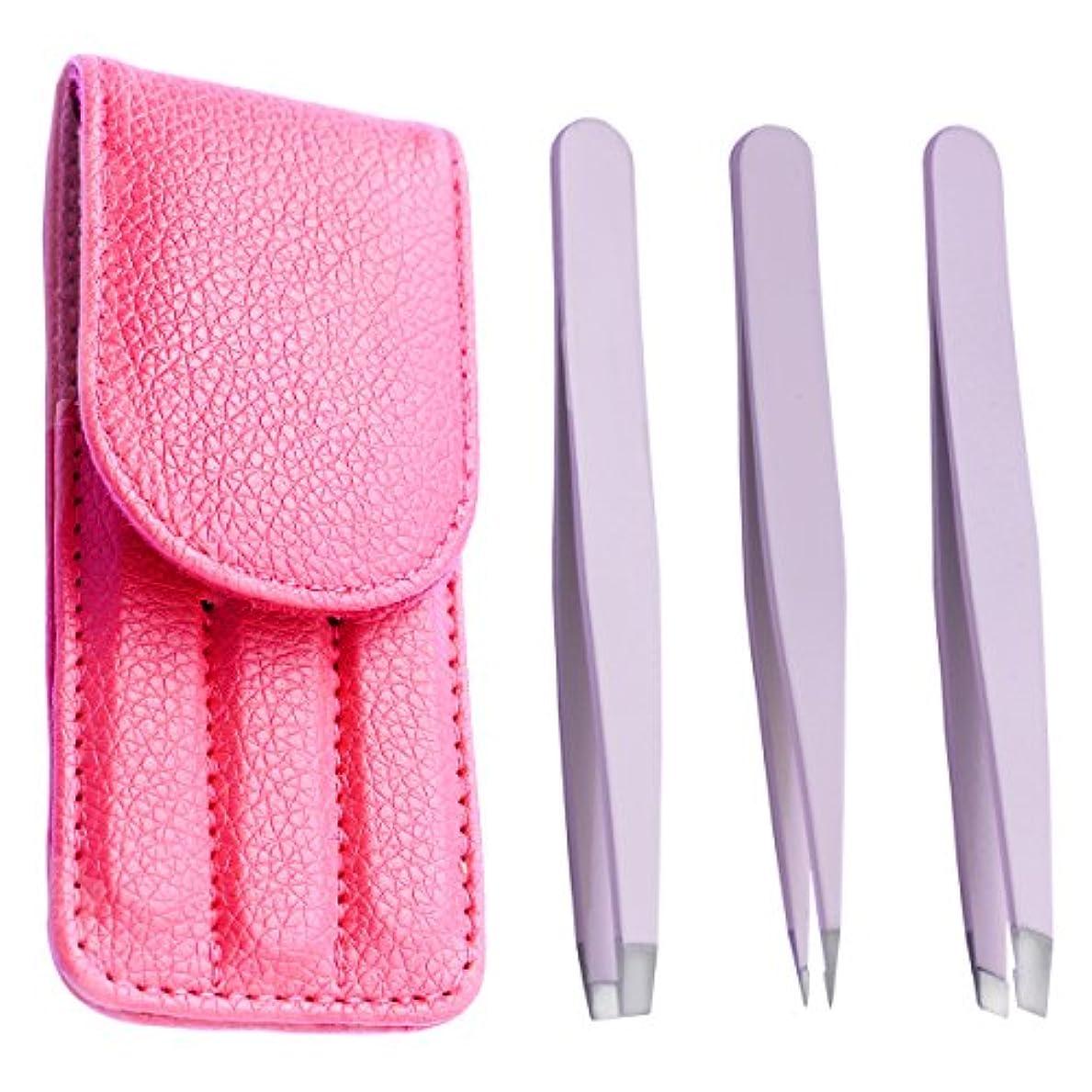 辞書やりすぎ提唱する光自在(Cozyshine) ステンレス毛抜き 専用ケース付き ツイーザー 眉毛 ステンレス製 3本セット 高級毛抜き 収納便利 (レッド)