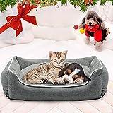 犬用 猫用 ペット ベッド スクエアベッド グレー WARMPETHO (S)