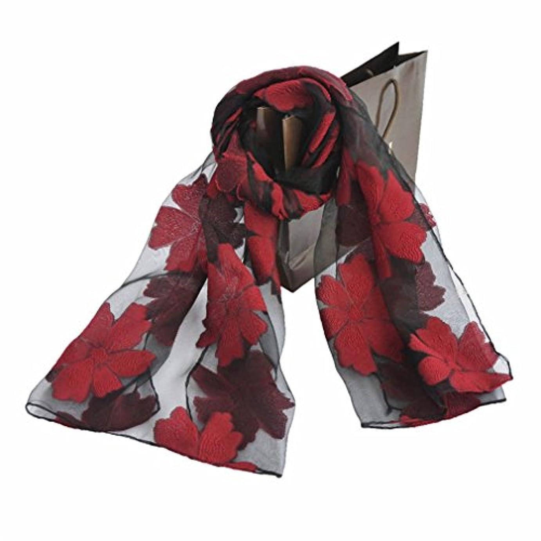 羊沈黙皿レディース?ショール - レディースフローラフラワーオーガンザスカーフロングショール軽量ファッションラップエスニックスタイル刺繍スカーフオーガンザショール 家の装飾 ( Color : 8 )