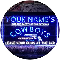 Personalized Your Name Est Year Theme Cowboys Gun Bar Man Cave Dual Color LED看板 ネオンプレート サイン 標識 白色 + 青色 400 x 300mm st6s43-qg1-tm-wb
