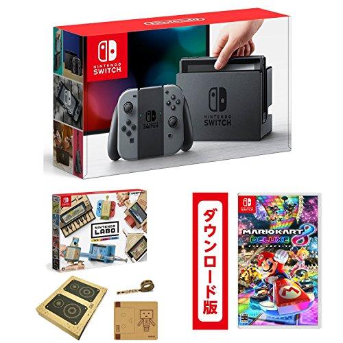 Nintendo Switch 本体 (ニンテンドースイッチ) 【Joy-Con (L)/(R) グレー】+【Amazon.co.jp限定】Nintendo Labo (ニンテンドー ラボ) Toy-Con : Variety Kit +オリジナルマスキングテープ+専用おまけパーツセット+マリオカート8 デラックス|オンラインコード版