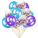 perfk 約15個 ラテックスバルーン 紙吹雪風船 マーメイドバルーン 誕生日 パーティー小物 4色選べ - B