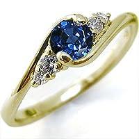 プレジュール K18イエローゴールド リング サファイア 婚約指輪 大粒 エンゲージリング リングサイズ10号
