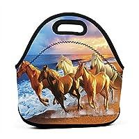 ランチバッグ 保温バッグ ビーチの馬 お弁当袋 大容量 耐衝撃 保冷 保温 食品収納 通校 通勤 旅行 子供用 メンズ レディース