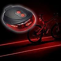 自転車の後部ランプ、警告灯、防水自転車レーザーテールライトを点滅、5LED 7フラッシュモードサイクリング安全ランプ【ATTYOUオンラインオリジナル商品】