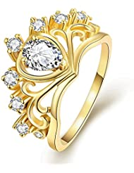 18k日韓が売れる おしゃれハート型ゴールドジルコン指輪 美しいクラウン結婚指輪 ウエディングドレスアクセサリー 輝く水晶の指輪 記念日のプレゼント ルギー防止