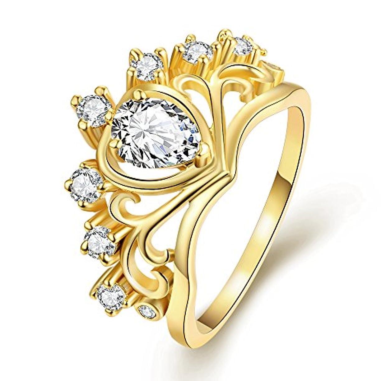 はっきりとレーニン主義スペア18k日韓が売れる おしゃれハート型ゴールドジルコン指輪 美しいクラウン結婚指輪 ウエディングドレスアクセサリー 輝く水晶の指輪 記念日のプレゼント ルギー防止