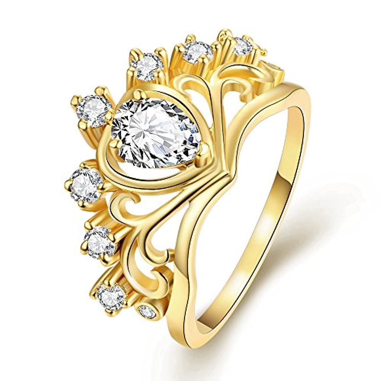 オレンジ小数想定する18k日韓が売れる おしゃれハート型ゴールドジルコン指輪 美しいクラウン結婚指輪 ウエディングドレスアクセサリー 輝く水晶の指輪 記念日のプレゼント ルギー防止