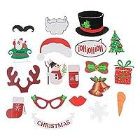 クリスマスパーティーの装飾のための棒の19pcsの写真ブースの小道具クリスマスの雪だるまの手袋ベルのブーツの小道具