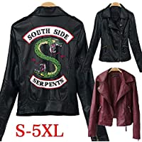 Riverdale Leather Bomber Jackets Female Winter Slim Motorcycle Jacket Coats South Side Serpents Printed Black Wine Red(Black,S)