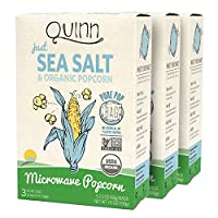Quinn Snacks Microwave Popcorn - Made with Organic Non-GMO Corn - Great Snack Food for Movie Night - Just Sea Salt, 7 Ounce, (3 Count)