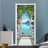 Xbwy 現代の海辺の風景バルコニー写真壁画壁紙リビングルームの寝室のドアのステッカーPvc自己接着防水壁紙-400X280Cm