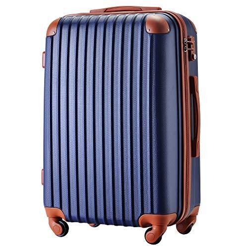 [トラベルハウス] Travelhouse スーツケース 超軽量 TSAロック搭載 【一年修理保証】 ABS 半鏡面仕上げ4輪 ファスナータイプ ss型国内・国際線機内持込可 (19色4サイズ) suitcase (L, ネイビー+ブラウン)