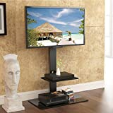 FITUEYES Floor Cantilever TV Stand with Swivel Bracket fit 32 to 65 inch Screen Black TT207001MB