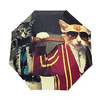 大きい 折り畳み傘 自動開閉 長傘級の親骨70cm おりたたみ傘 ワンタッチ 折りたたみ傘 撥水加工 頑丈な8本骨 耐強風 収納ポーチ付きおもしろ 猫