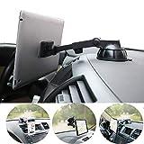 タブレットホルダー マグネット 、 PLDHPRO車載スマホホルダー 、伸縮アーム 粘着ゲル吸盤式 ダッシュボードとウィンドシールドがマウントされており、360度回転 車載ステント、4-10インチ のタブレットに適用する