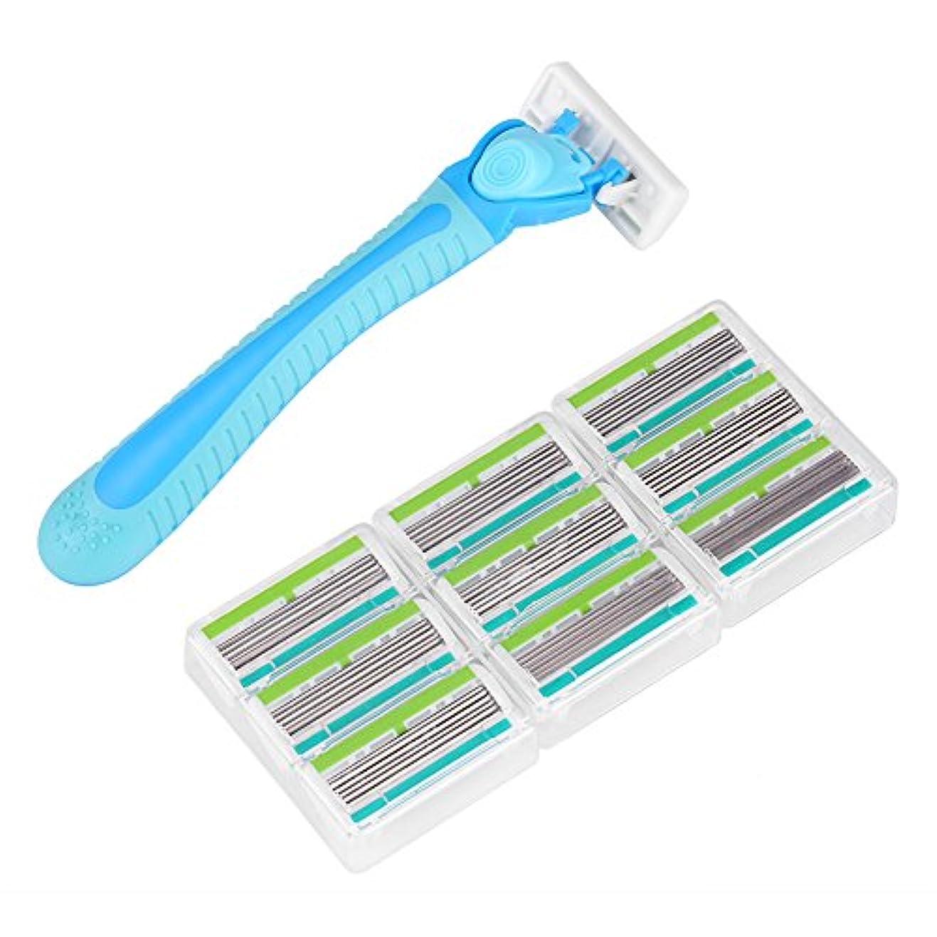 チキンカヌー周波数使い捨て剃刀、6層刃カミソリホルダーレッグ脱毛シェービング(男性/女性用)(蓝色)