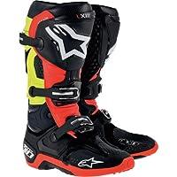 Alpinestars Tech 10Boots、Primaryカラー:ブラック、サイズ: 8、Distinct名:ブラック/レッド/イエロー、性別:メンズ/ユニセックス20100141368