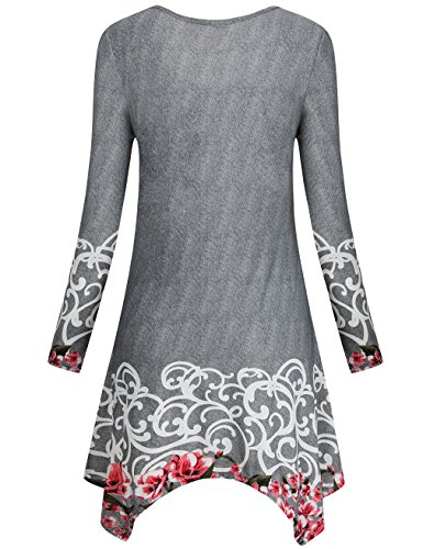 Faddare A-Line Dress, Women's Irregular Hem Loose Fit Shirt Dress Top With Pocket