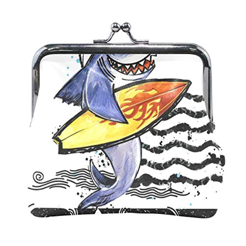AOMOKI 財布 小銭入れ ガマ口 コインケース レディース メンズ レザー 丸形 おしゃれ プレゼント ギフト デザイン オリジナル 小物ケース シャック アニマル 海 熱帯