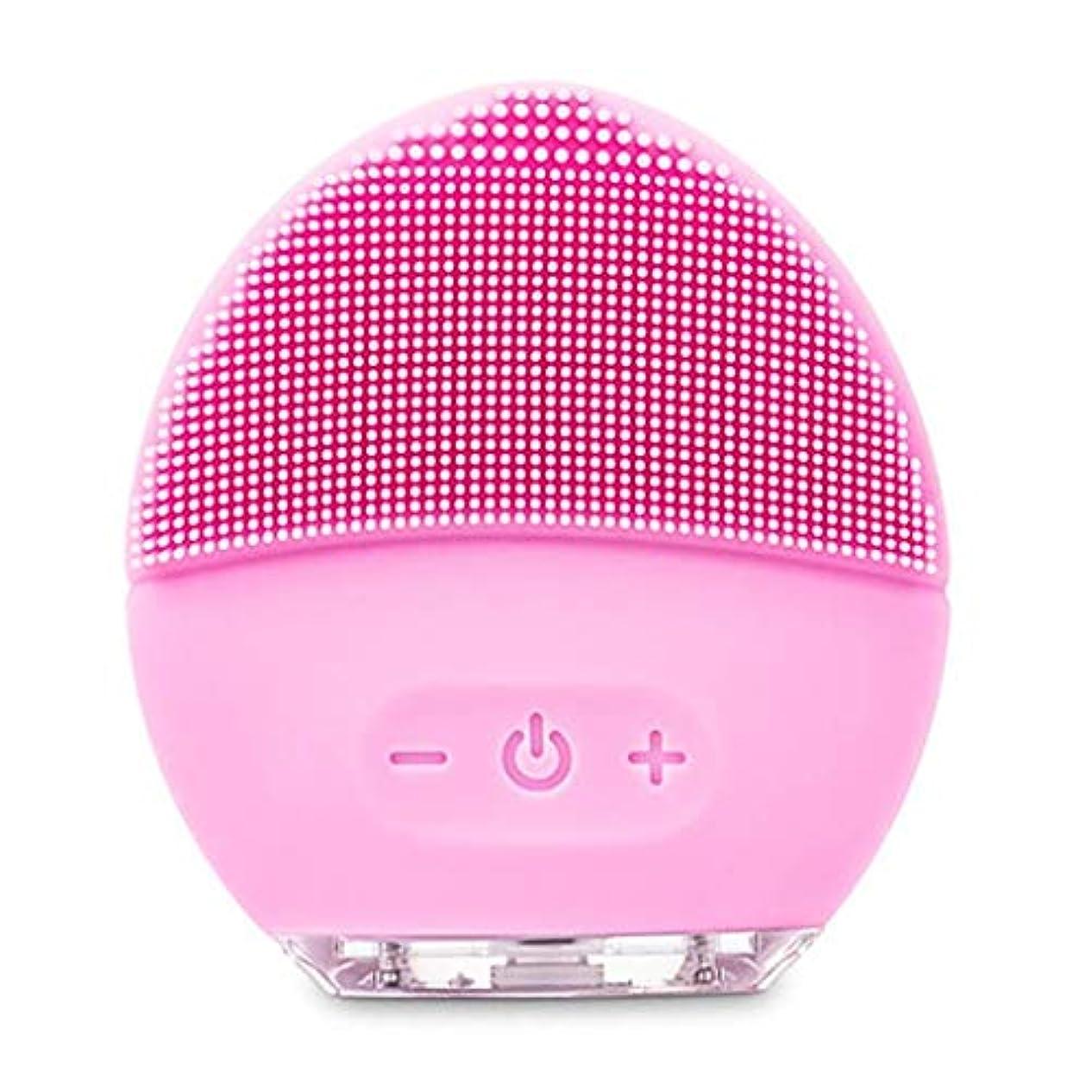 かるバタフライ昇進クレンジングマッサージ器、電動洗顔ブラシ、シリコーン美顔器、ファーミング肌、アンチエイジングスクラッチクレンザー (Color : ピンク, Size : One size)