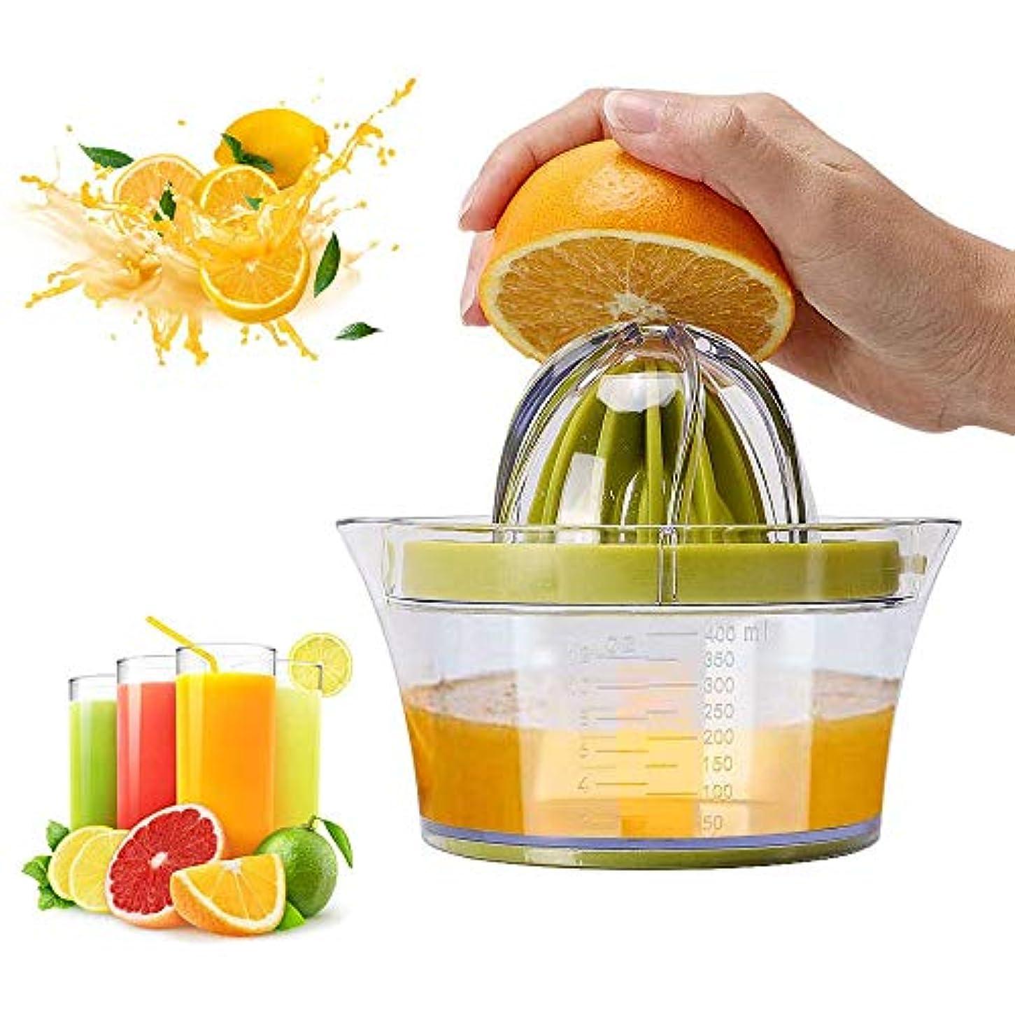 ホップシンボル冷ややかなフルーツスクイーザプレッサー、測定容器付きハンドフルーツプレス400ml、すべての柑橘類に対応した食器洗い機で安全