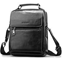 SPAHER Men Leather Shoulder Bag Handbag IPAD Business Messenger Backpack Crossbody Casual Tote Sling Travel Bag Document Bag with Top-Handle and Adjustable Strap Large Size