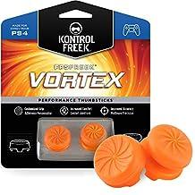 KontrolFreek FPS Freek Vortex for PlayStation 4 (PS4) Controller | Performance Thumbsticks | 1 High-Rise Convex, 1 Mid-Rise Concave | Orange