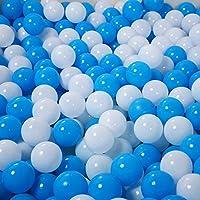 momowu 100個ブルーホワイトFun BallsソフトプラスチックBall Pit Ballsベビーキッズ幼児テントSwim Toysボール5.5 CM