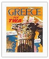 ギリシャ - TWA (トランス・ワールド航空)で飛ぶ - コリント式スタイルギリシャコラム - ビンテージな航空会社のポスター によって作成された デイヴィッド・クライン c.1959 - キャンバスアート - 41cm x 51cm キャンバスアート(ロール)