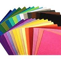28枚 柔らかいタイプ 羊毛フェルト クラフト DIY手芸用 不織布 選べるサイズ1.4mm厚 カラフル 28色セット (15cm x 15cm)