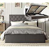 Istyle Chester King Gas Lift Ottoman Storage Bed Frame Fabric Grey