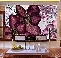 Lcymt 紫色の花3Dウォール壁画ビニール壁紙用テレビソファ背景寝具部屋の壁写真壁画フレスコ画家の装飾-150X120Cm