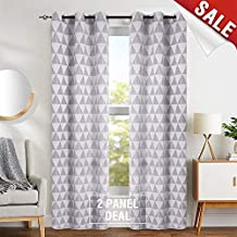 "jinchan Light Filtering Grey Curtains Jacquard Curtain Panels for Living Room 84"" Length Opaque Delta Pattern Privacy Bedroom Curtains Grommet Top, 2 Panels"