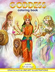Goddess Coloring Book. Grayscale &  line art illustrations: Coloring Book for Adults. Adult Relaxation