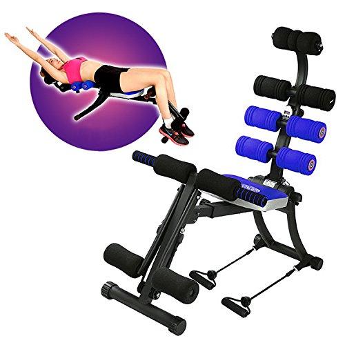 (22-1多機能)調節可能な運動トレーナーは、腕、腿、胃、腰の運動に適用する全身トレーナー 例えば、腹部クランチ、シット・アップ、腕立て伏せ、ロックイング、捻転、横レイズ、アームロー、ショルダープレス、フロントレイズ、上腕二頭筋トレーニング、ロープフライ、上肢と下肢の運動、腿のクランチと斜め、バックストレッチ、アーム・リフト、レッグレイズ、サイドツイスト、サイドクランチ、プレスアップ。初心者のための特別なスーツ(DVDビデオと栄養ガイドブック付き) (青)