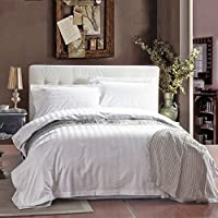VeroMan 綿100% サテン織 ホテル仕様 布団カバー フラットシーツ まくらカバー セット (ダブル, 高密度)