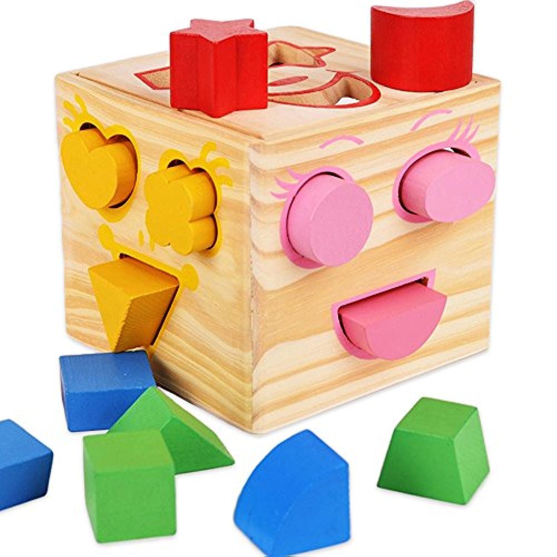 a-forest木製Shape Sorterブロック教育玩具Shape Sorting Cube for Kids認識機能一致