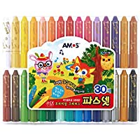 Amos Premium Non-toxic Silky Crayon Pasnet 30 Colors 非毒性、滑らかなクレヨン(海外直送)