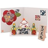 (ファンファン) FUN fun 正月飾り 迎春飾り 型染め和紙 迎春お飾りセット 笑門来福 間口15*奥行8*高さ13.5(約cm) 日本製