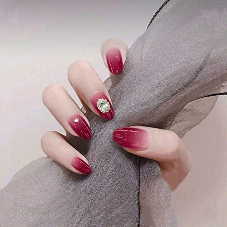 VALEN Nail Patch 24Pcs ネイルチップ 中等長さ オーバル ドレス 人工ラインストーン ラインストーン 夢幻 赤 グラデーション