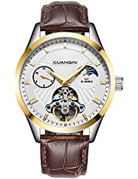 GUANQIN 腕時計 アナログ 自動巻き 機械式 ウォッチ メンズ 人気 ブランド ステンレススチール と レザー オス 時計 ムーンフェイズ 防水 おしゃれ ユニーク デザイン (ゴールドホワイト)